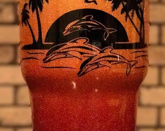 Personalized Tropical Sunset and Dolphins Ombre Fade and Glitter Painted and Epoxy Cleared 30 oz tumbler