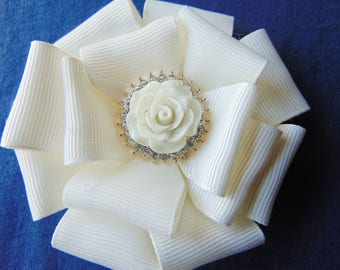 Ivory with pink flower brooch