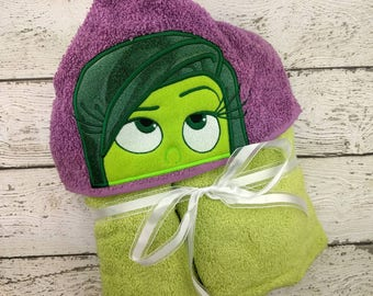 Disgust Children's Hooded Towel - Baby Towel - Childrens Hood Towel - Bath Towel - Beach Towel - Personalized Towel - Character Towel