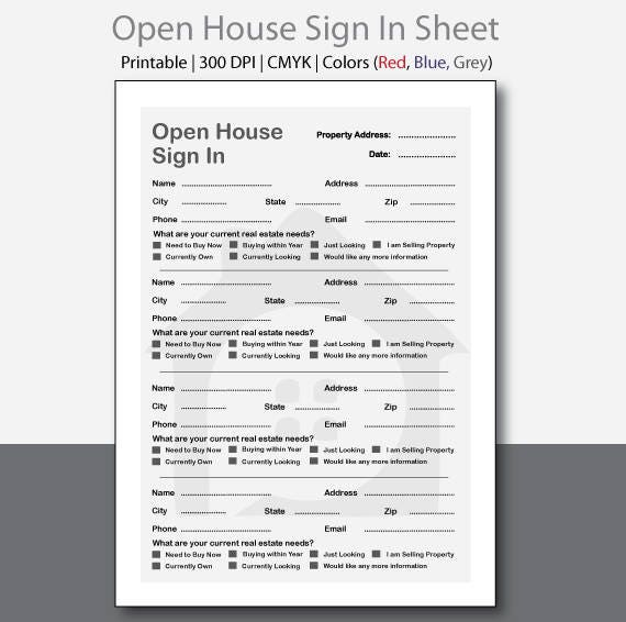 Real estate open house sign in sheet Open house sign in Open