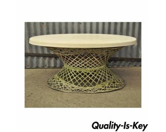 Vintage Mid Century Modern Russell Woodard Spun Fiberglass Outdoor Coffee Table