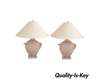 Pair of Hollywood Regency Satin Frosted Pink Glass Table Lamps Lucite Vintage Mid Century Modern
