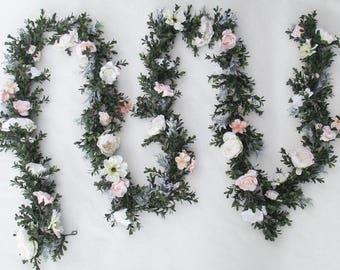 Custom Lush Floral Wedding Garland Boxwood Bridal Shower