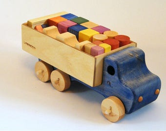 Blue Wooden truck and blocks