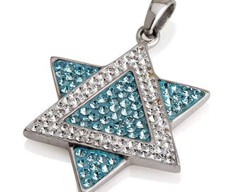 Star of David Pendant Azure&White Gemstones + Sterling Silver Necklace #1