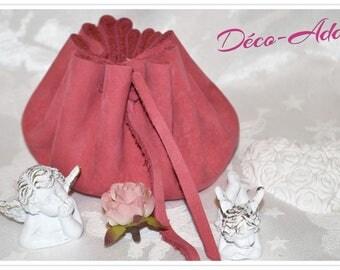 Medieval leather/suede purse pink - big model