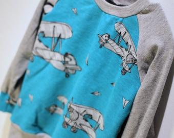 Sweater - 3-4 years - aircraft - long sleeve / raglan