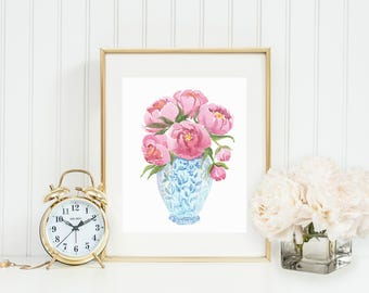 Blue and White Ginger Jar Art Print with Pink Peonies,