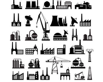 Industrial Silhouettes, Industry Clipart, Infographic Clip Art, Buildings Svg, Industrial Factory , Industrial Plant, Industrial vector