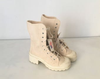 White Chunky ankle boots / Summer White ankle boots / Amphibian  boots / Biker ankle boots canvas / Grunge white boots / Chunky Boots 6.5