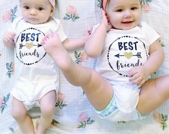 Baby Girl Clothes Best Friends Matching Baby Bodysuits, Best Friends Forever Shirts, Matching Twins BFF Shirts, Custom Best Friend Shirts