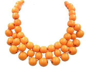 Orange Necklace,Bead Necklace,Boho Necklace,Choker Necklace,Chunky Necklace,Statement Necklace,Bib Necklace,Bridesmaid Jewelry,Wedding Gift
