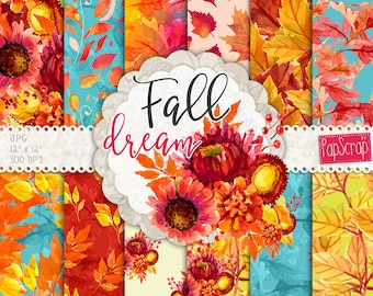 """Watercolor autumn digital paper : """"Fall Dream"""" digital floral paper with orange, yellow and blue, fall papers, decoupage paper,"""