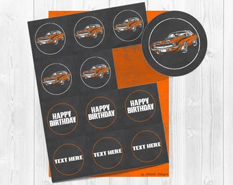Camaro Hot Rod Toppers, Hot Rod Tags,  Hot Rod Toppers, Hot Rod Cupcake Toppers, Chalkboard, Cupcake Toppers, Printable, Tags, Party Circle