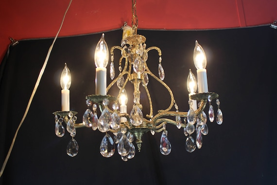 Vintage Brass and Crystal Chandelier Ceiling Light Crystal Prisms 5 Arms