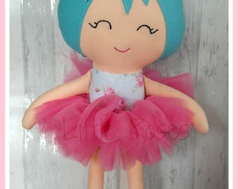 18 inch Handmade Turquoise Haired Ballerina Doll