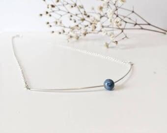 minimalist necklace, blue stone necklace, blue stone, minimalist necklace, delicate necklace, sterling silver necklace, sterling silver