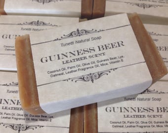 Guinness Beer Natural Homemade Moisturizing Soap Bar with Leather Scent, Handmade soap, Natural Soap, Cold Process Soap