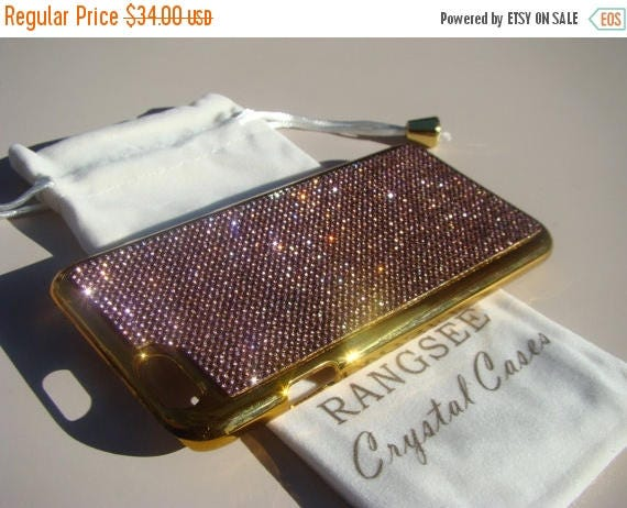 """Sale iPhone 6 / 6s Case Purple Amethyst Rhinstone Crystals on iPhone 6 / 6s Gold Chrome Case. """" Gold Edition"""" , Genuine Rangsee Crystal Case"""