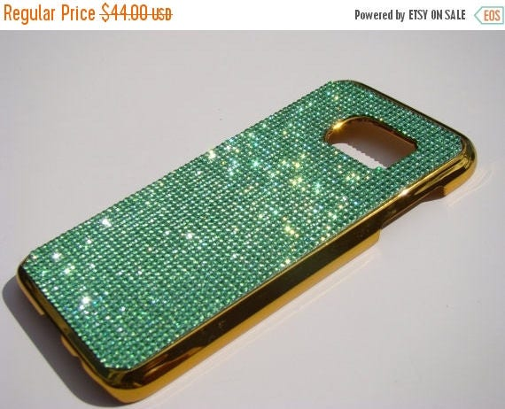 Sale Galaxy S7 Green Peridot  Rhinestone Crystals on Gold Chrome Case. Velvet/Silk Pouch Bag Included, Genuine Rangsee Crystal Cases