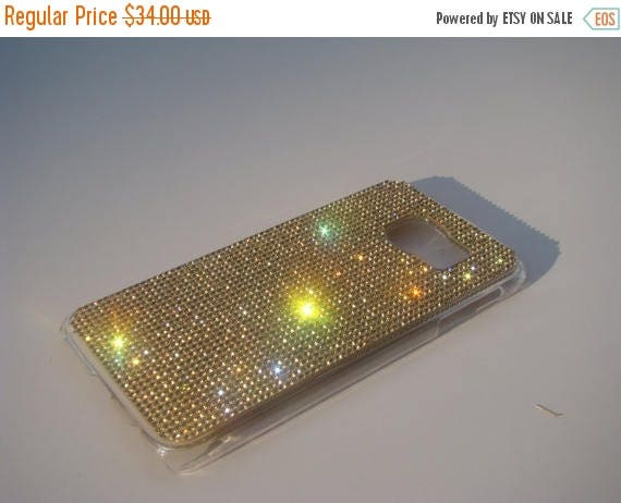 Sale Galaxy S6 Gold Topaz Crystals on Transparent Case. Velvet/Silk Pouch Bag Included, Genuine Rangsee Crystal Cases.