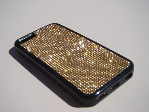 iPhone 5C Gold Topaz Rhinestone Crystals on Black Rubber Case. Velvet/Silk Pouch Bag Included, Genuine Rangsee Crystal Cases.