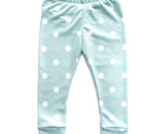 Baby Blue Dot Leggings - French Terry Leggings, Baby Joggers, Boy Leggings, Baby Boy Outfit, Newborn Outfit, Polka Dot Joggers, It's a Boy