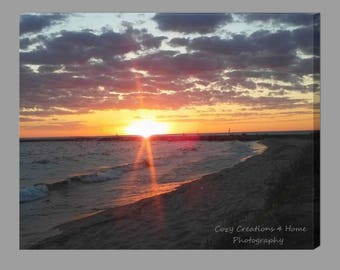 Sunset Canvas / Sunset Photography / Beach House Decor / Lake Michigan Sunset Print / Ludington Michigan Sunset