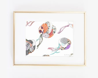 Art print wall art decor Fabrics jellyfish fashion poster Japanese style abstract art vintage aesthetic patterns fabric peach and mint
