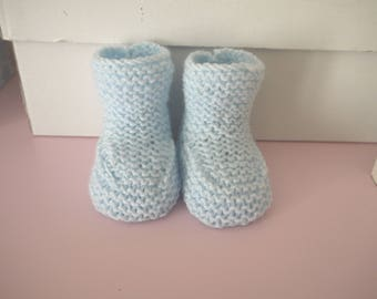 Wool baby boy shoes 0/3 months baby birthstone hand-knitted light blue