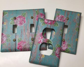 Pink Roses on Distressed Turquoise Wood, Light switch covers,light switch plate,outlet covers,outlet plates,home decor, wall art