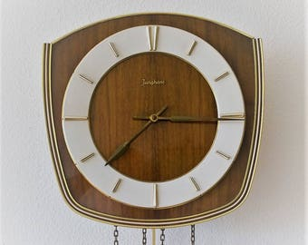 Mid-Century Junghans Pendulum Wall Clock 1950s Made in Germany
