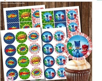 60% OFF PJ Masks Cupcake Toppers, Instant Downloand, Pj Masks Birthday, Superhero Birthday, Circles and Squares, Print as many as needed, di