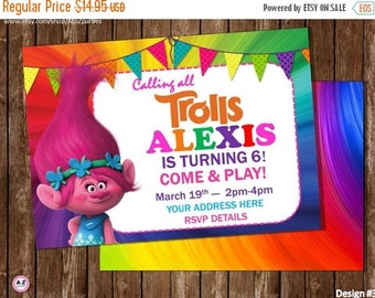 60% OFF Troll Birthday Invitation, Personalized Invitation, Printable DIY, Troll party, personalized invitation, invite, troll movie, 5x7, d