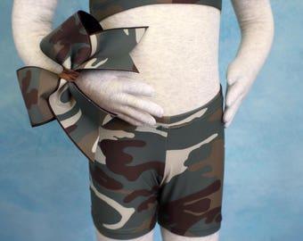 Cheer bow with spandex shorts. Cheer set. Gym shorts