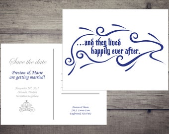 Disney Wedding Save the Date Postcard - Happily Ever After