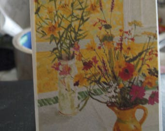 Garden Flowers and Yellow Lilies Notelet Card