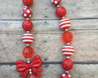 Red and White Necklace - Red necklace - Girl necklace - Chunky necklace - Bubblegum Necklace - Toddler necklace - Red and white