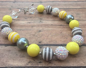 Chunky Necklace - Gray and Yellow Chunky Necklace - Chunky Bead Necklace - Bubblegum Necklace - Kids Necklace - Statement Necklace - Jewelry