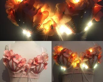 mermaid style rhinestone light up bra