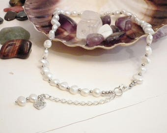 White pearls and silver necklace, white Y necklace