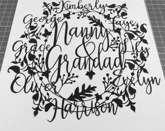 Family Personalised Paper Cutting Template - Personal And Commercial Use