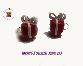 Earrings in polymer clay Christmas package