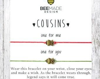 Fairytale Gift COUSINS Bracelet Cousin Bracelet 2 Clothing Gift matching bracelet Christmas Gifts for Cousin Gifts Under 20 charm bracelet
