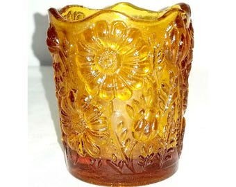 DAISY Glass Toothpick Holder,Amber Pressed Glass,Daisy Toothpick Holder,Floral Toothpick Holder,Vintage Amber Glass,Collectibles,1970s