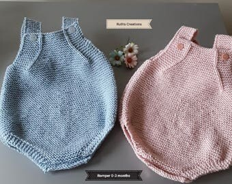 Hand Knitted Baby Romper 0 - 3 months.