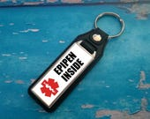 Silver Plated Keyring  Key Ring  Key Chain  EpiPen Inside key fob  Awareness