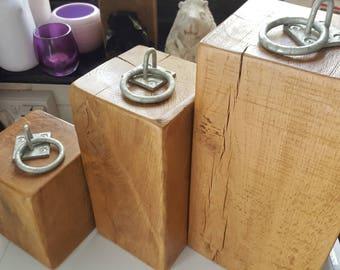 Medium heavy Oak wood Wooden Door Stop metal ring reclaimed