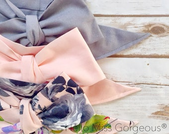 Gorgeous Wrap Trio (3 Gorgeous Wraps)- Platinum, Light Pink & French Noir Floral Gorgeous Wraps; headwraps; fabric head wraps; bows