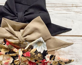Gorgeous Wrap Trio (3 Gorgeous Wraps)- Noir, Hazelnut & Twilight Floral Gorgeous Wraps; headwraps; fabric head wraps; bows